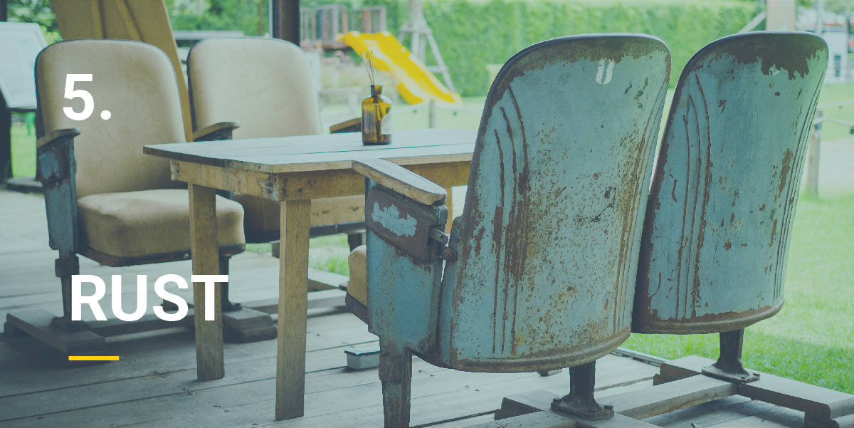 Rusty outdoor furniture that needs to be cleaned with a pressure washer